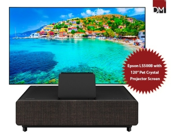 """Epson EH-LS500B 4K UHD Ultra-Short Throw Laser Projector with 120"""" Pet Crystal Fixed Frame Projector Screen"""
